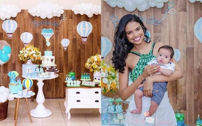 Balões e o céu foram o tema do mesversário de três meses do pequeno Bernardo, filho da atriz Aline Dias