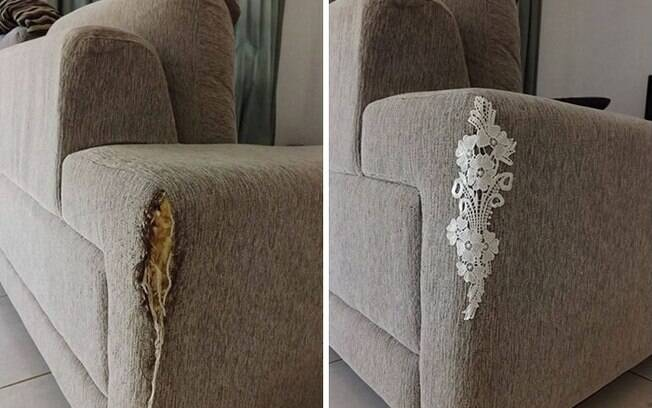 Rasgos no sofá acontecem por diversos motivos e é algo que incomoda. Quem sabe trazer um detalhe único para disfarçar?