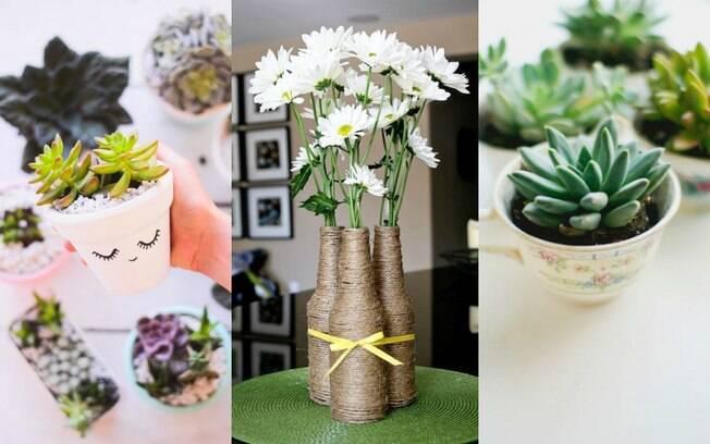 Até mesmo uma garrafa de vidro ou uma simples xícara podem se tornar o embrulho perfeito para um flor ou planta
