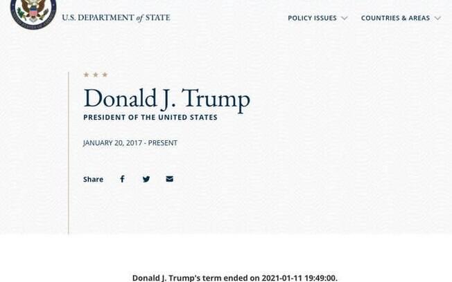 Site do governo dos Estados Unidos diz que trump encerra hoje seu mandato