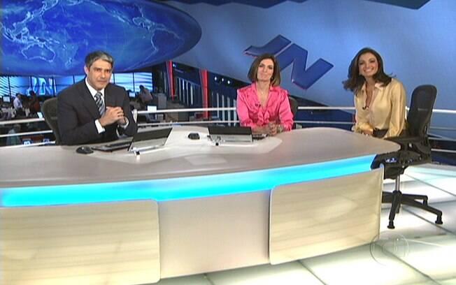 William Bonner, Fátima Bernardes e Patrícia Poeta, juntos no JN