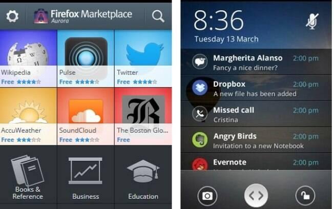 Loja de aplicativos e janela de notificações do Firefox OS