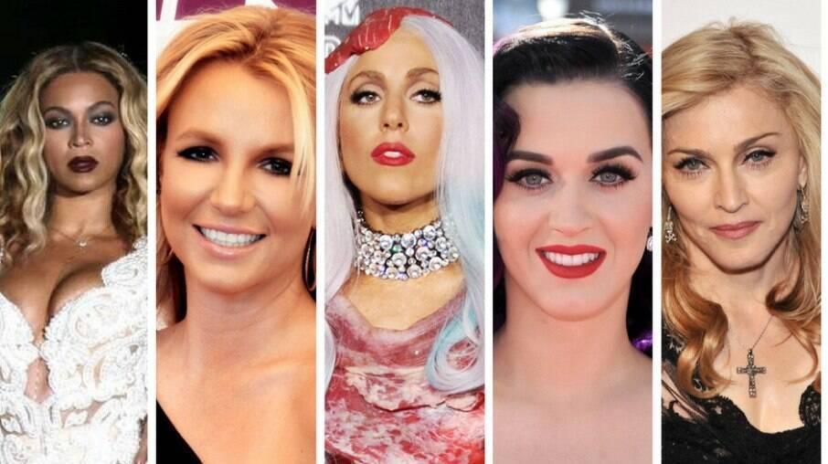 Beyoncé, Britney Spears, Lady Gaga, Katy Perry e Madonna, da esquerda para a direita, são algumas divas da música pop que inspiram pessoas por todo o mundo