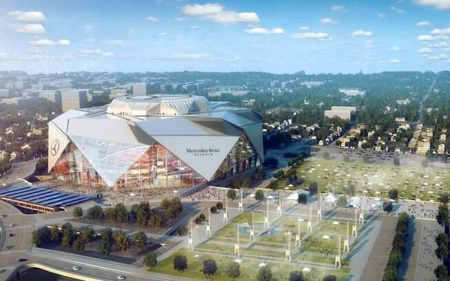 Projeto do novo estádio de Atlanta, que tem formato único de origami e custou mais de R$ 4 bilhões