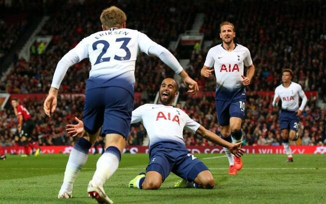 Lucas Moura fez dois gols na vitória do Tottenham sobre o Manchester United