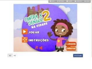 Imagem da tela inicial do game, que é voltado para o público infantil