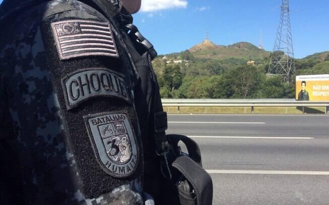 As equipes do Batalhão de Choque garantiram a segurança nas estradas durante a paralisação
