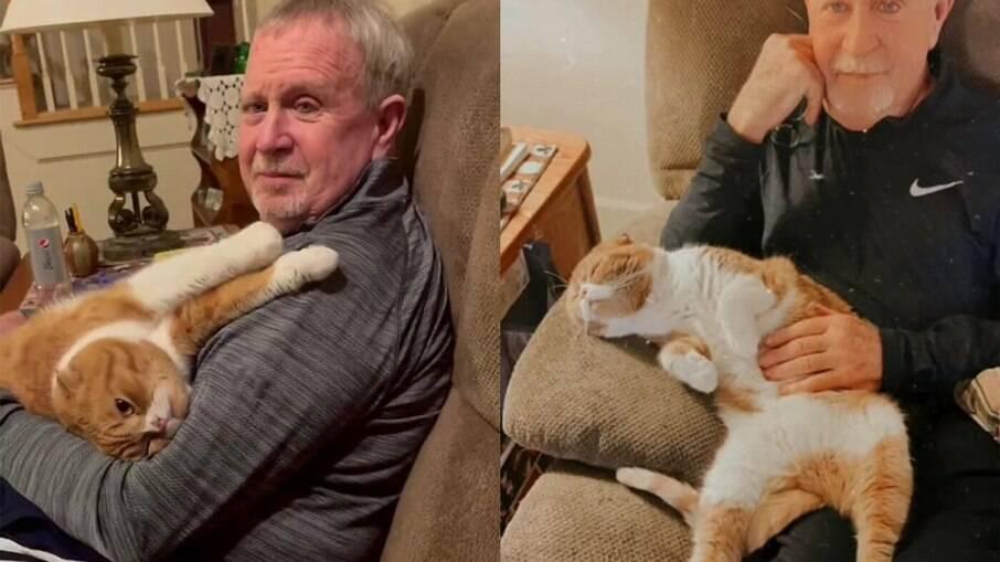 Gato não sai de perto do dono que está com câncer