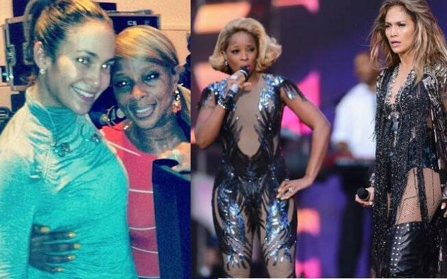 "Antes e depois: Jennifer Lopez e Mary J. Blige sem maquiagem nos bastidores do ""Sound of Change"" e no palco do evento"