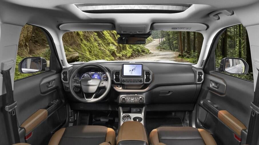 Ford Bronco Sport 2021 é bem espaçoso e vem com sistema de som de alta fidelidade entre os itens de série