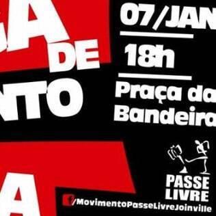 Anúncio de protesto contra o aumento da tarifa do transporte público em Joinville