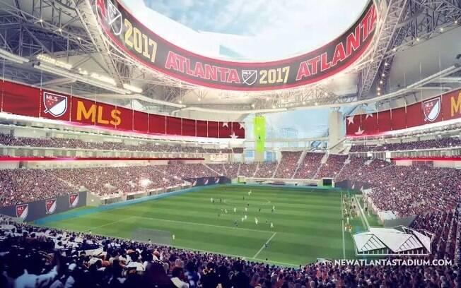 Projeto do estádio visto de dentro em partida de futebol
