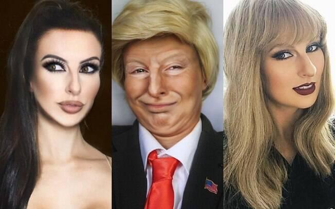 Rhylee já se transformou em Kim Kardashian, Donald Trump, Taylor Swift e outras celebridades com maquiagem artística