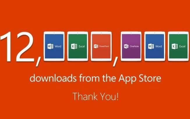 Em uma semana, foram 12 milhões de downloads do Word, Excel, PowerPoint e OneNote