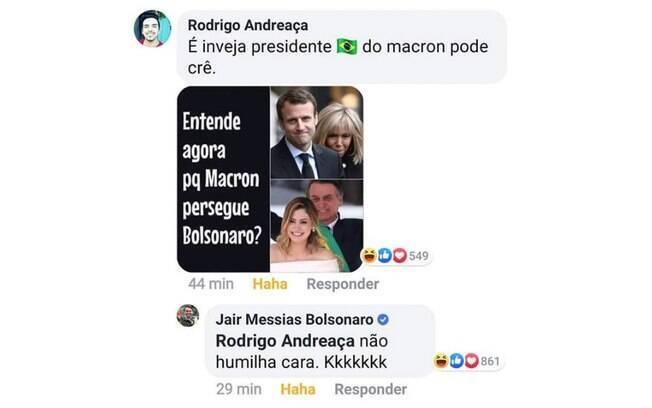 Comentário de Bolsonaro em meme de seguidor