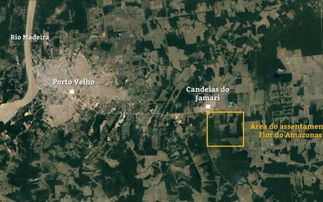 Mapa destacando área do assentamento