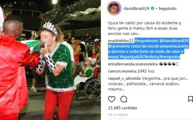 David Brazil comemora o não rebaixamento da Grande Rio