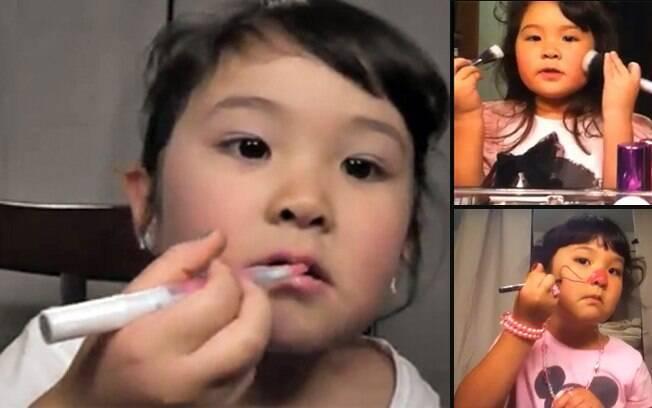 Madison brincando de se pintar em três momentos: quando a mãe não permite o uso de alguma maquiagem, ela avisa no vídeo
