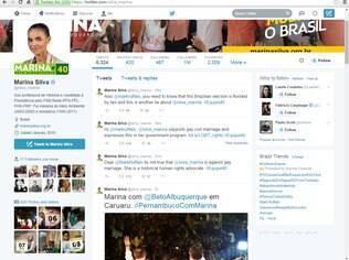 Marina Silva respondeu ao ator, em inglês, pelo Twitter, dizendo que apoia a causa LGBT