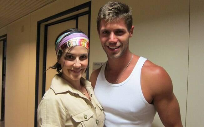 Jonas Sulzbach e Deborah Secco durante a gravação do programa