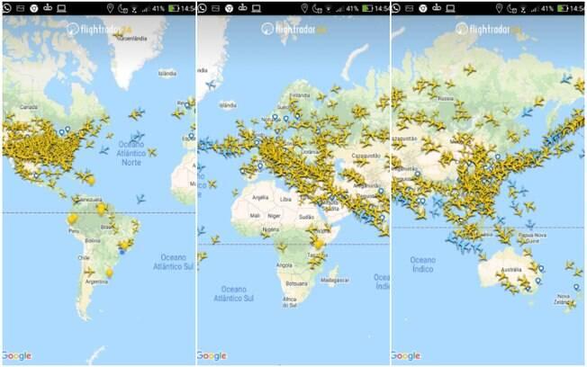 O volume de voos na Europa, Ásia e Estados Unidos pode ser visto pelos aviões amarelos
