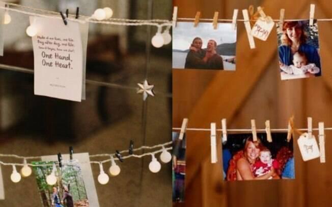 Pendurar fotos dos bons momentos que aconteceram durante o ano pode ser uma maneira de relembrá-los