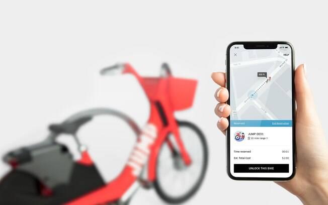 O serviço de bikes elétricas do Uber ficará dentro do próprio aplicativo