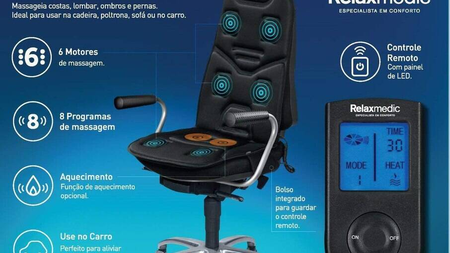 O assento Ultra Massage Relaxmedic também pode ser usado na cadeira do escritório ou no sofá de casa.