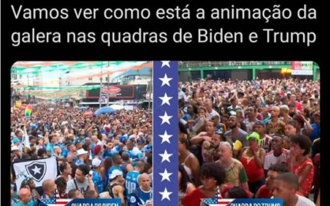 Meme sobre as torcidas democrata e republicana comparadas às escolas de samba