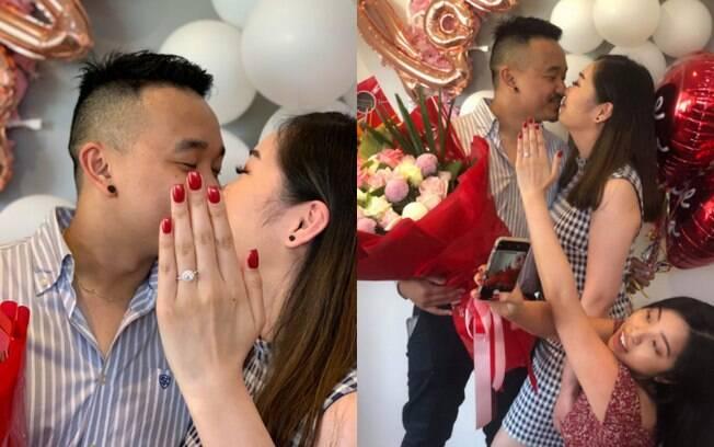 Jenna,  prima da noiva, compartilhou os bastidores da foto para anunciar noivado no Twitter, revelando o grande 'segredo'
