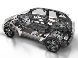 Estrutura do i3 é de fibra de carbono, material leve e resistente usado na Fórmula 1