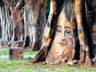 Arte. Em reunião do Fica Ficus, no bairro Santa Efigênia, artista anônimo fez pintura em árvore