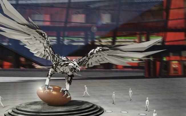 Terá uma obra de arte em formato de falcão, em homenagem ao time da NFL, Atlanta Falcons