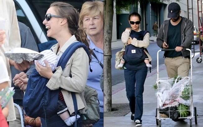 Natalie Portman com o filho Aleph e o marido Benjamin Millepied