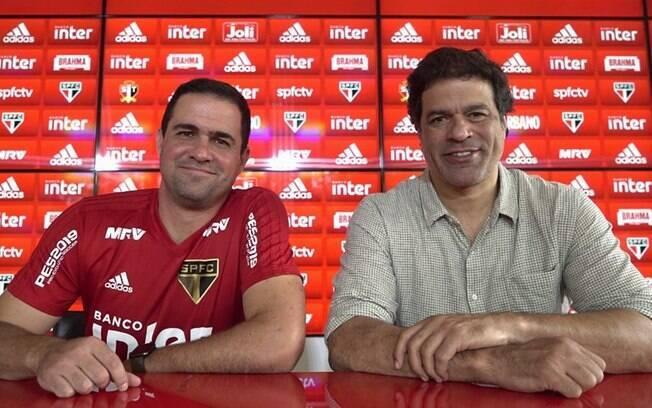 André Jardine, técnico efetivado do São Paulo para 2019, e Raí, ídolo do clube e atual executivo de futebol