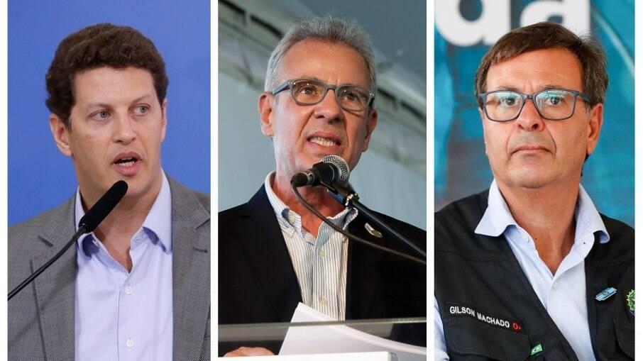 Ministros Ricardo Salles (Meio Ambiente), Bento Albuquerque (Minas e Energia) e Gilson Machado (Turismo)