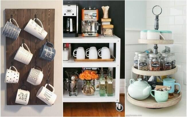 Outro elemento necessário em um cantinho do café são as canecas, que podem ser agrupadas de várias formas