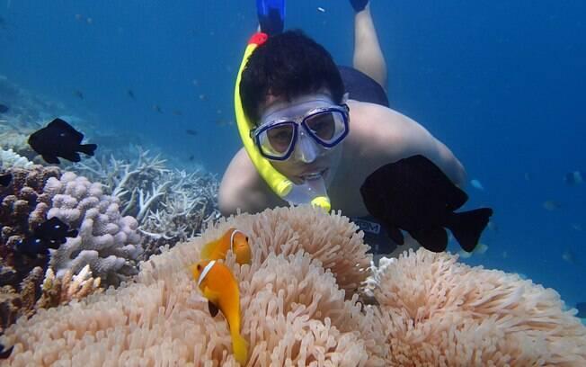 Fernando aproveita mergulho no mar das Maldivas