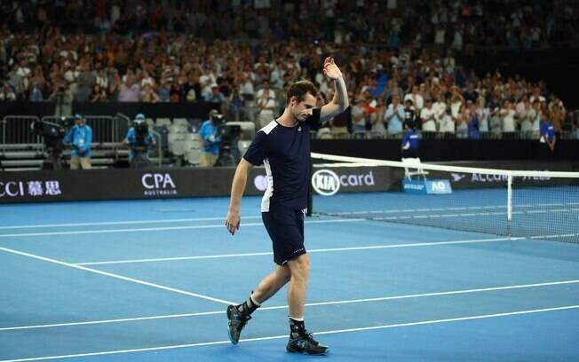 Andy Murray se emocionou durante a partida