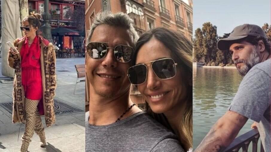 Anitta, Márcio Garcia e Bruno Gagliasso aproveitaram as ruas de Madrid