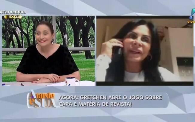 Sonia Abrão conversa com Gretchen durante programa