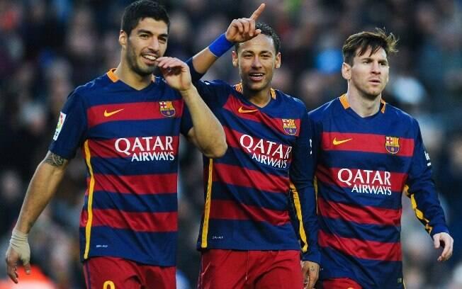 Neymar formou o trio MSN com Suárez e Messi