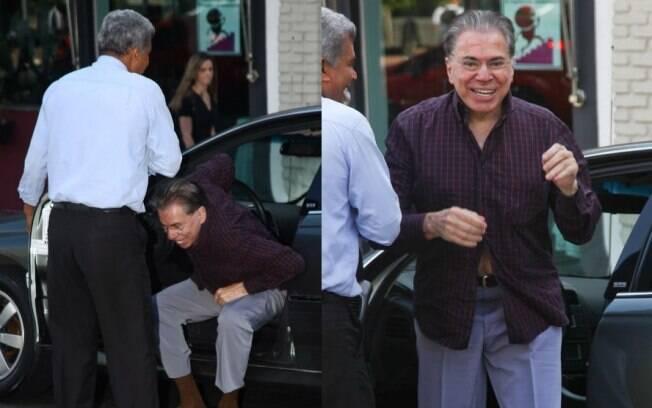 Silvio Santos chegou dirigindo seu próprio carro