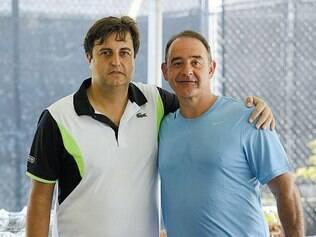 Dupla forte: Alexandre Poni e Antônio Celso Azevedo, do Verdemar, também realizador do Top Tênis Boca Raton