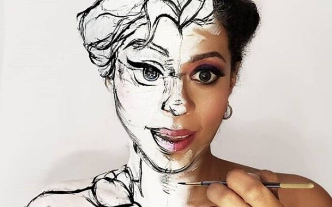 Mais um exemplo de realidade misturada com desenho com o uso da maquiagem artística