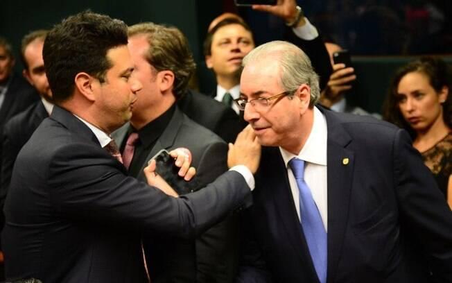 Leonardo Picciani e Eduardo Cunha após eleição de novo líder do PMDB na Câmara
