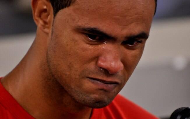 Bruno chora ao depor nesta quarta-feira, durante o julgamento