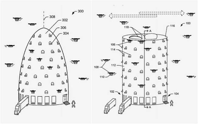 Patente da Amazon conta com renderizações diferentes com a ideia da empresa para as centrais de drones