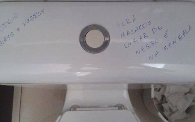 Em fevereiro, o banheiro masculino da USP Leste foi alvo de pichações racistas