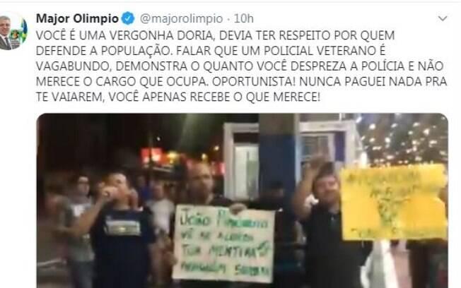 Líder do governo no Senado, Major Olimpio (PSL-SP) atacou Doria no Twitter